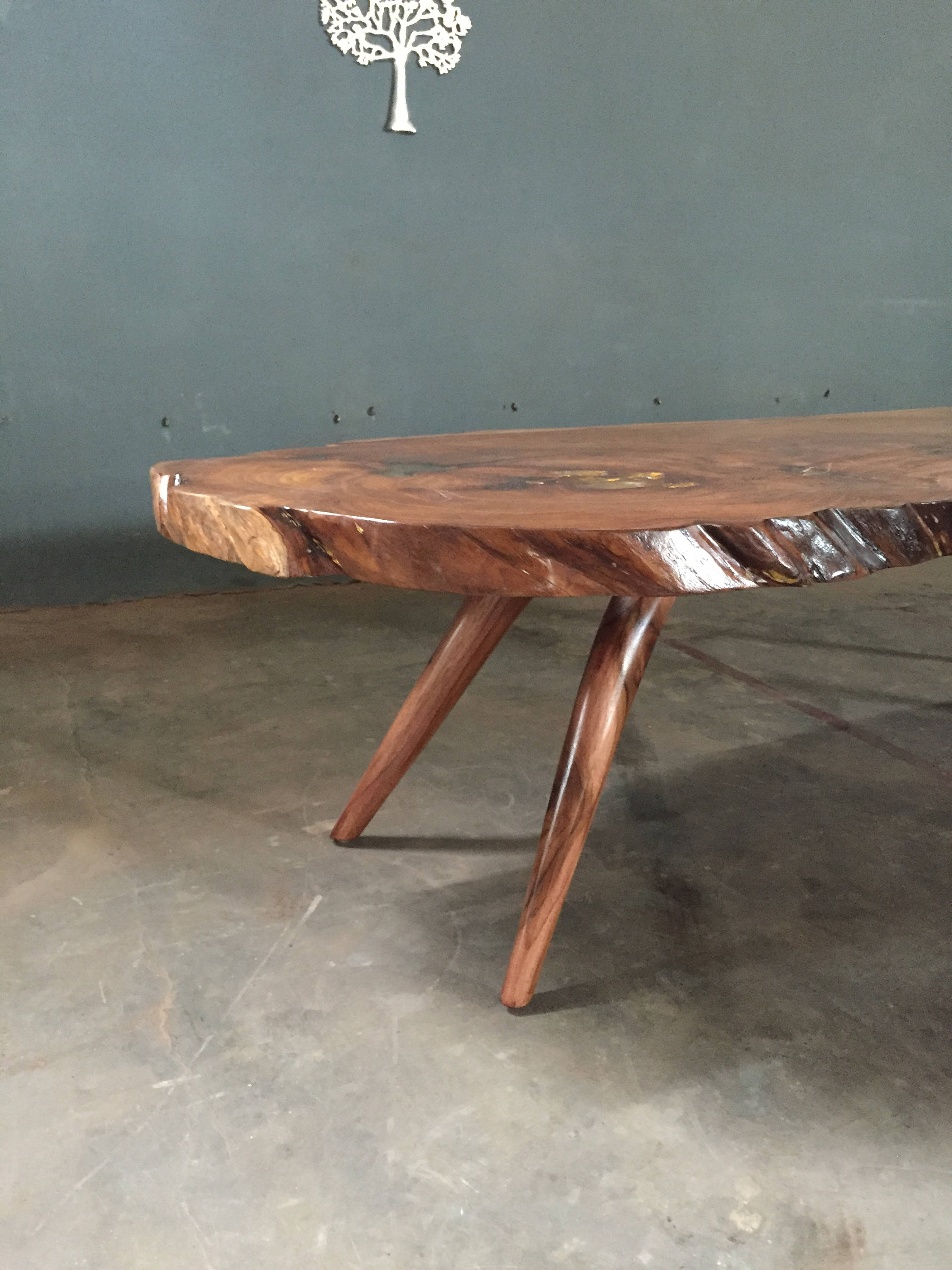 Mid Century Modern Inspired Hand Made Teak Live Edge Slab Coffee Table Within Most Recently Released Live Edge Teak Coffee Tables (View 15 of 20)