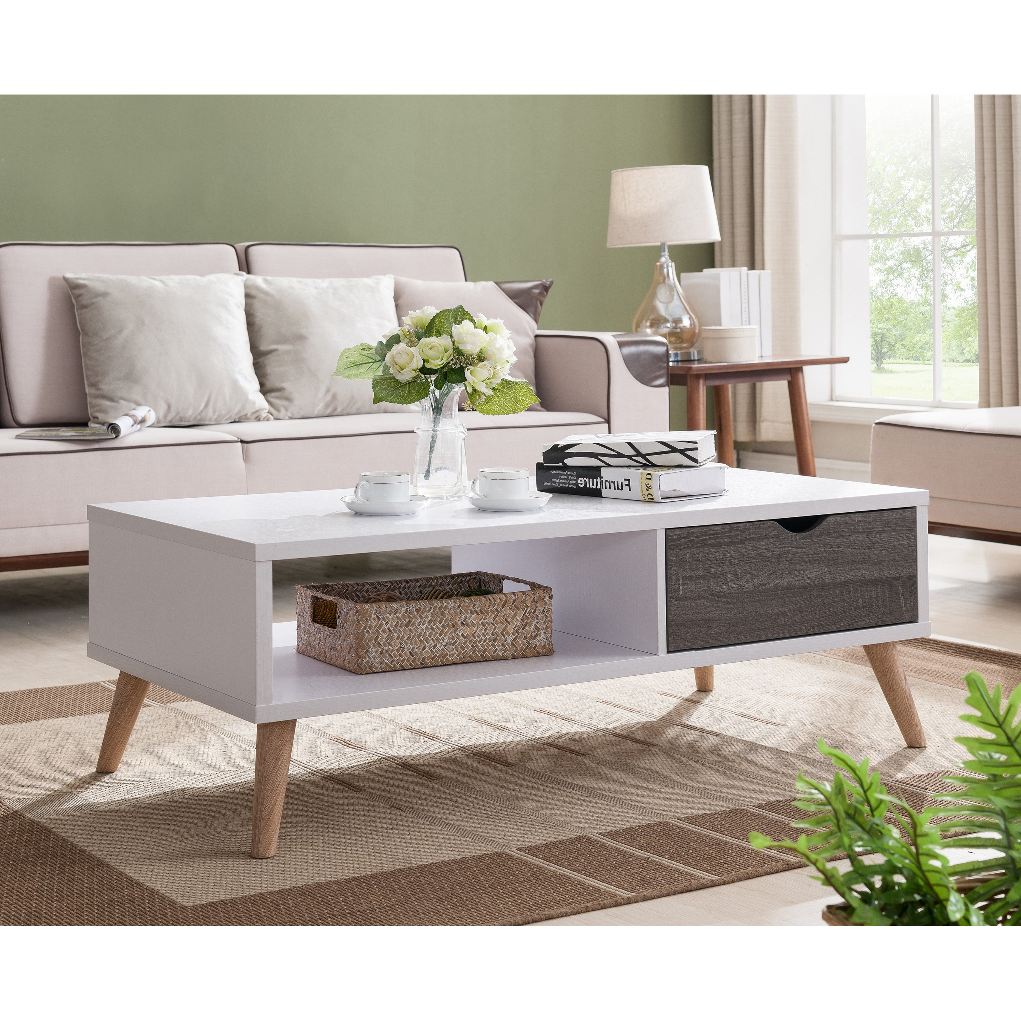 Mid Century Modern Marble Coffee Tables Pertaining To Current Shop Furniture Of America Arella Ii Mid Century Modern 2 Tone (View 14 of 20)
