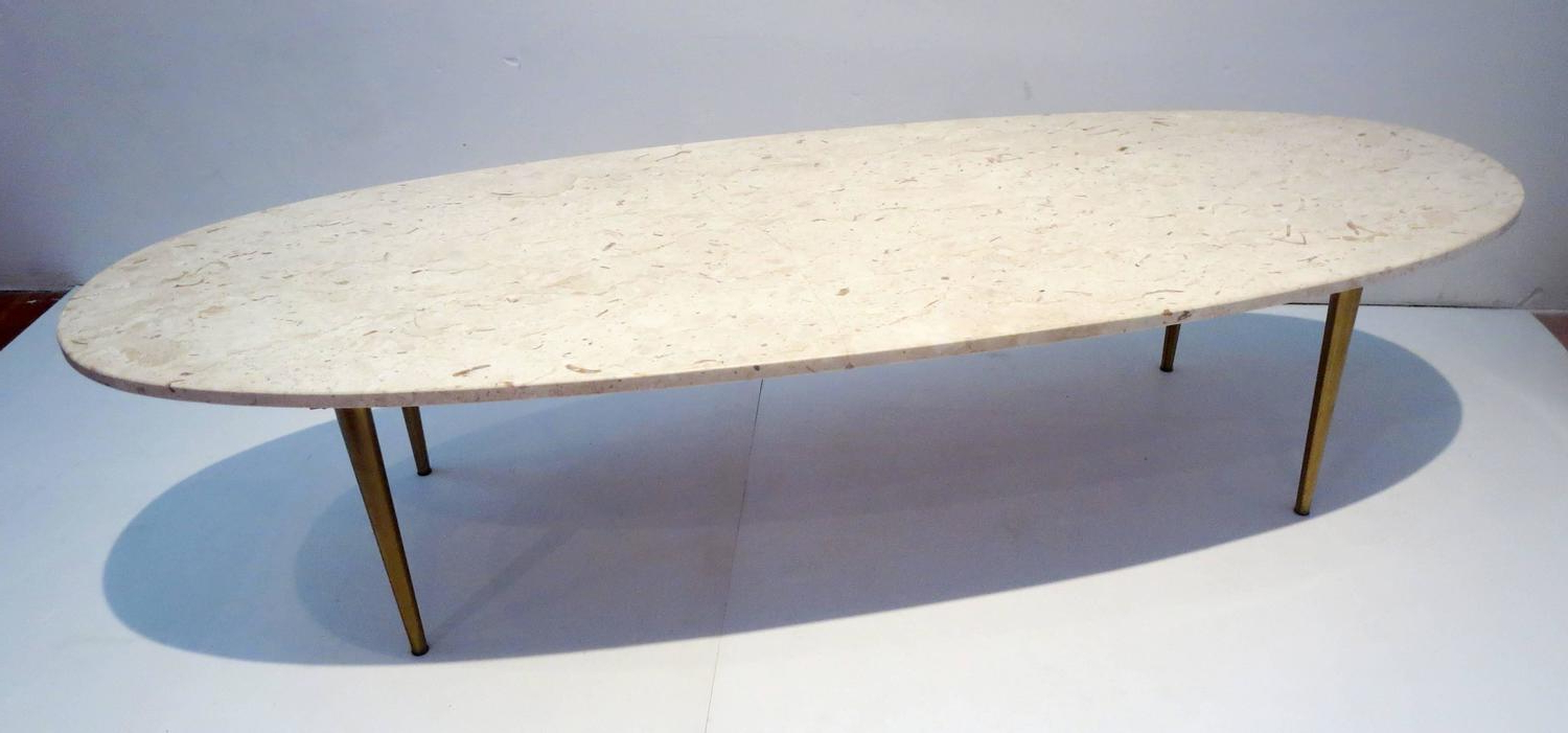 Mid Century Modern Marble Coffee Tables Regarding Popular Mid Century Modern Marble And Brass Large Oval Coffee Table At 1stdibs (View 12 of 20)