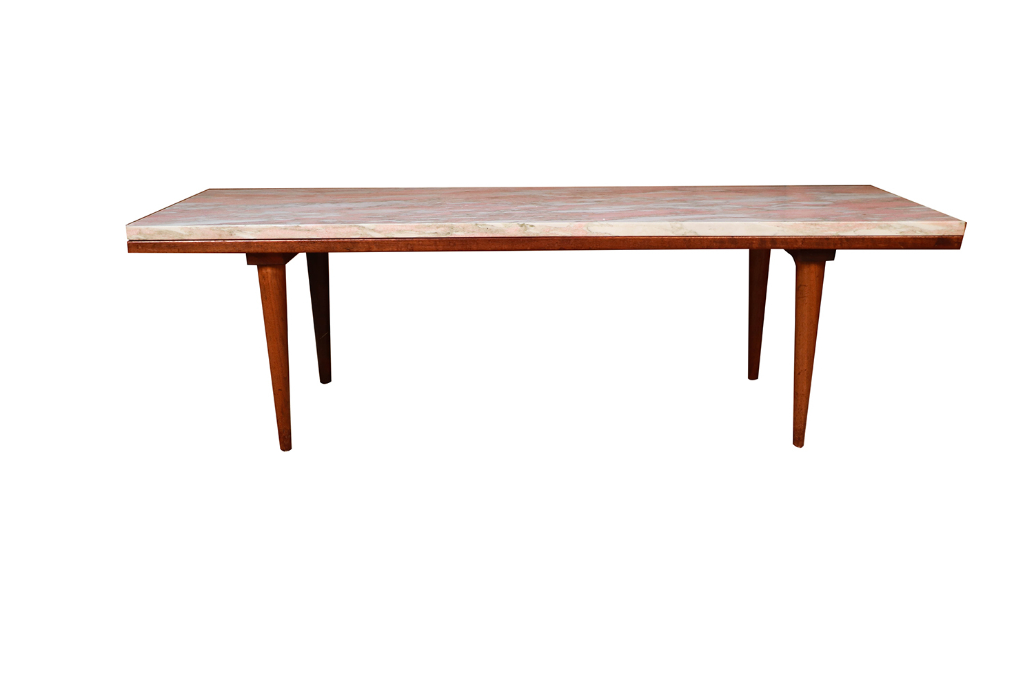 Mid Century Modern Marble Top Slat Bench Coffee Table – In Best And Newest Mid Century Modern Marble Coffee Tables (View 10 of 20)