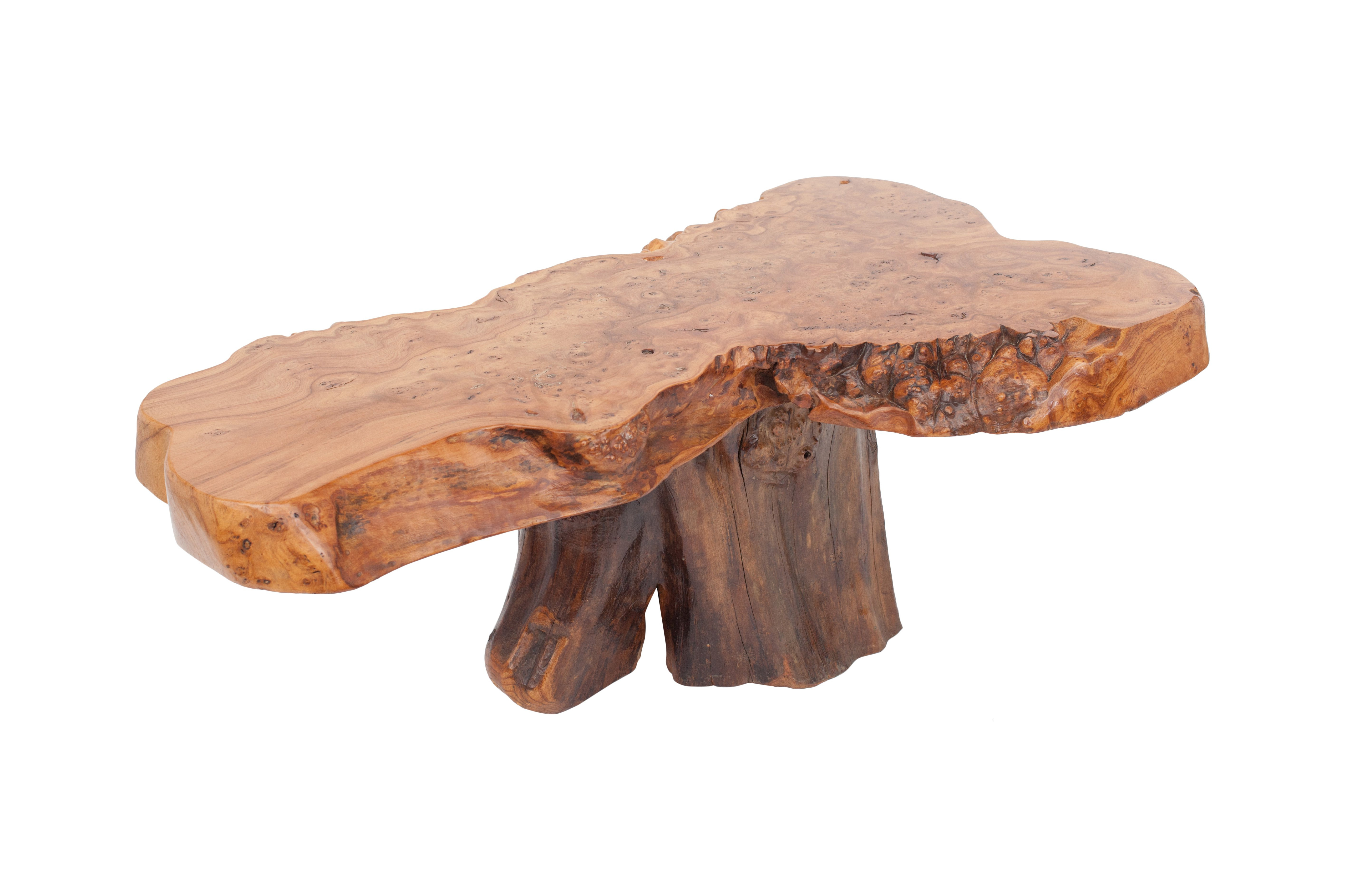 Mid Century Modern Natural Burl Wood High Gloss Coffee Table For Within Most Popular Stack Hi Gloss Wood Coffee Tables (View 7 of 20)