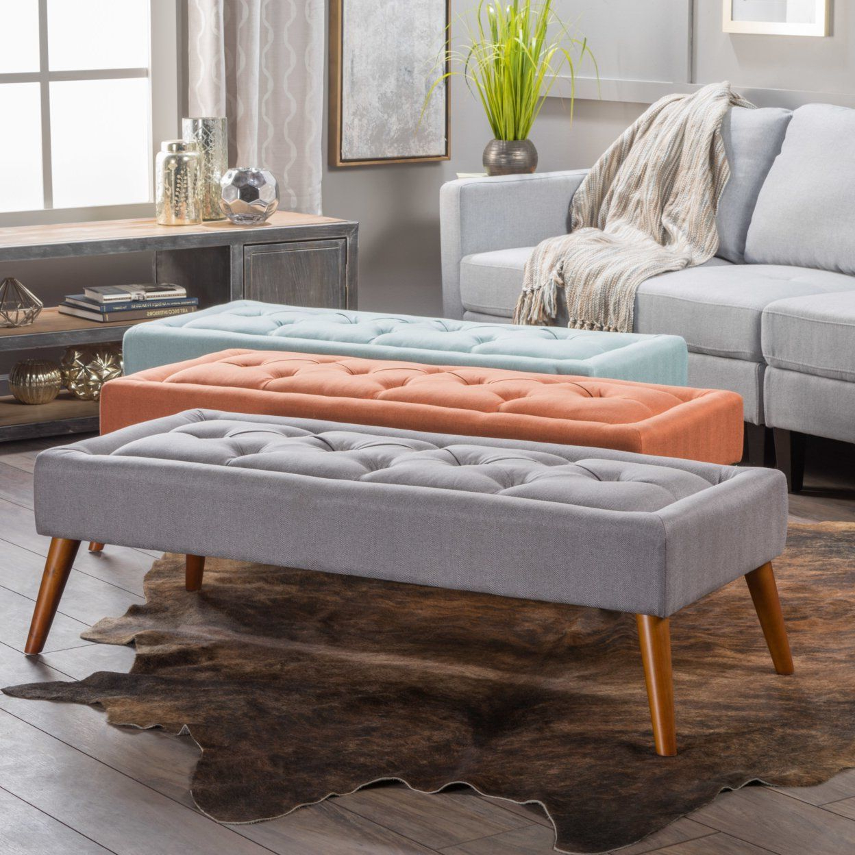 Mid Century Modern Ottoman Bench #home #canvas #art #sale #gifts Pertaining To Recent Elba Ottoman Coffee Tables (View 15 of 20)