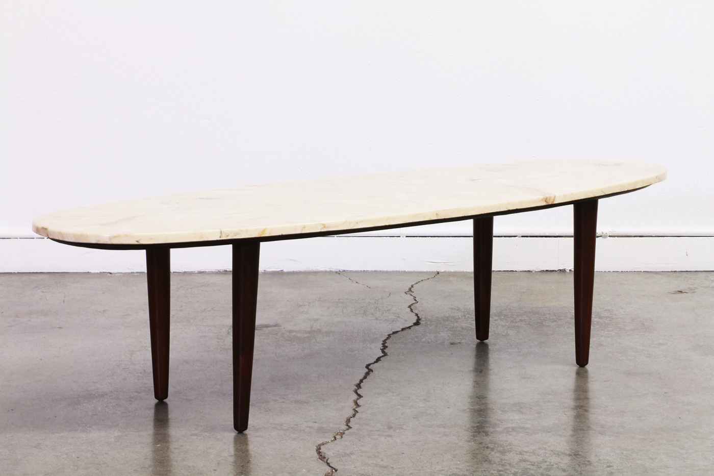 Mid Century Surfboard Style Coffee Table W/ Marble Top (View 17 of 20)