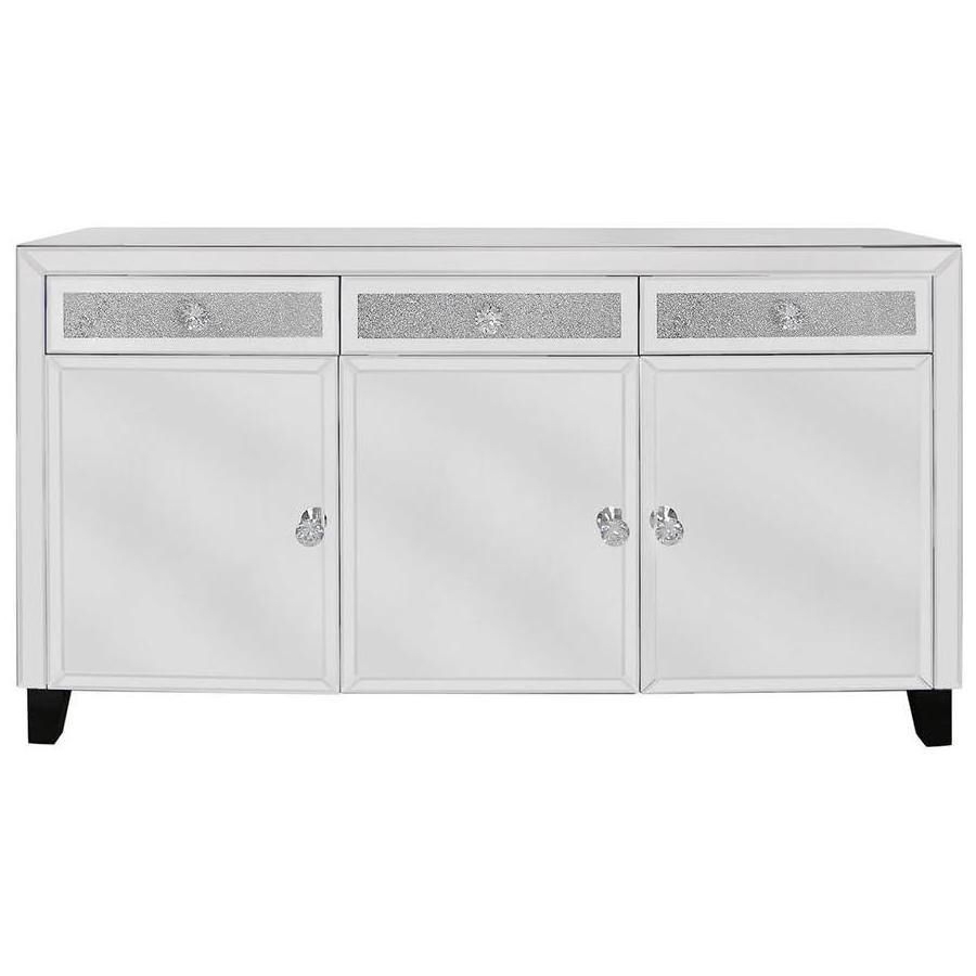 Milan Mirror Crystal 3 Door Sideboard Intended For 2018 3 Door 3 Drawer Metal Inserts Sideboards (Gallery 14 of 20)