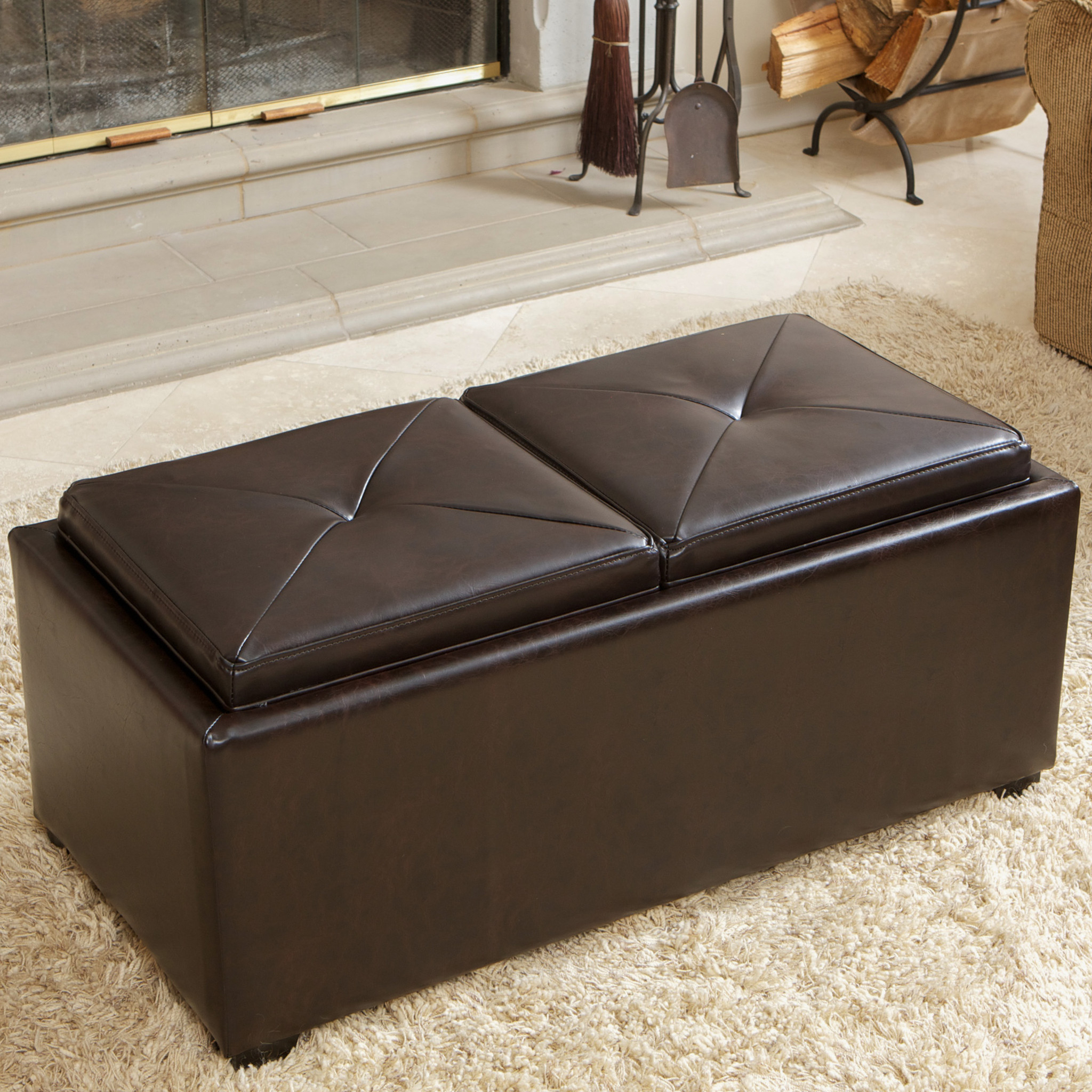 Mill Large Leather Coffee Tables With Regard To 2019 Coffee Tables : Mirrored Tray For Coffee Table Large Ottoman Tray (View 14 of 20)