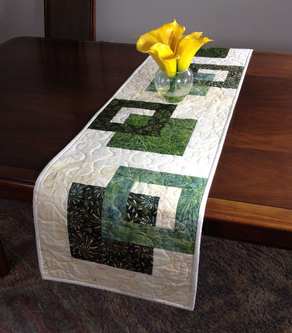 Modern Batik Table Runner, Handmade Green Quilted Tablerunner, Green Inside Well Known Batik Coffee Tables (View 13 of 20)