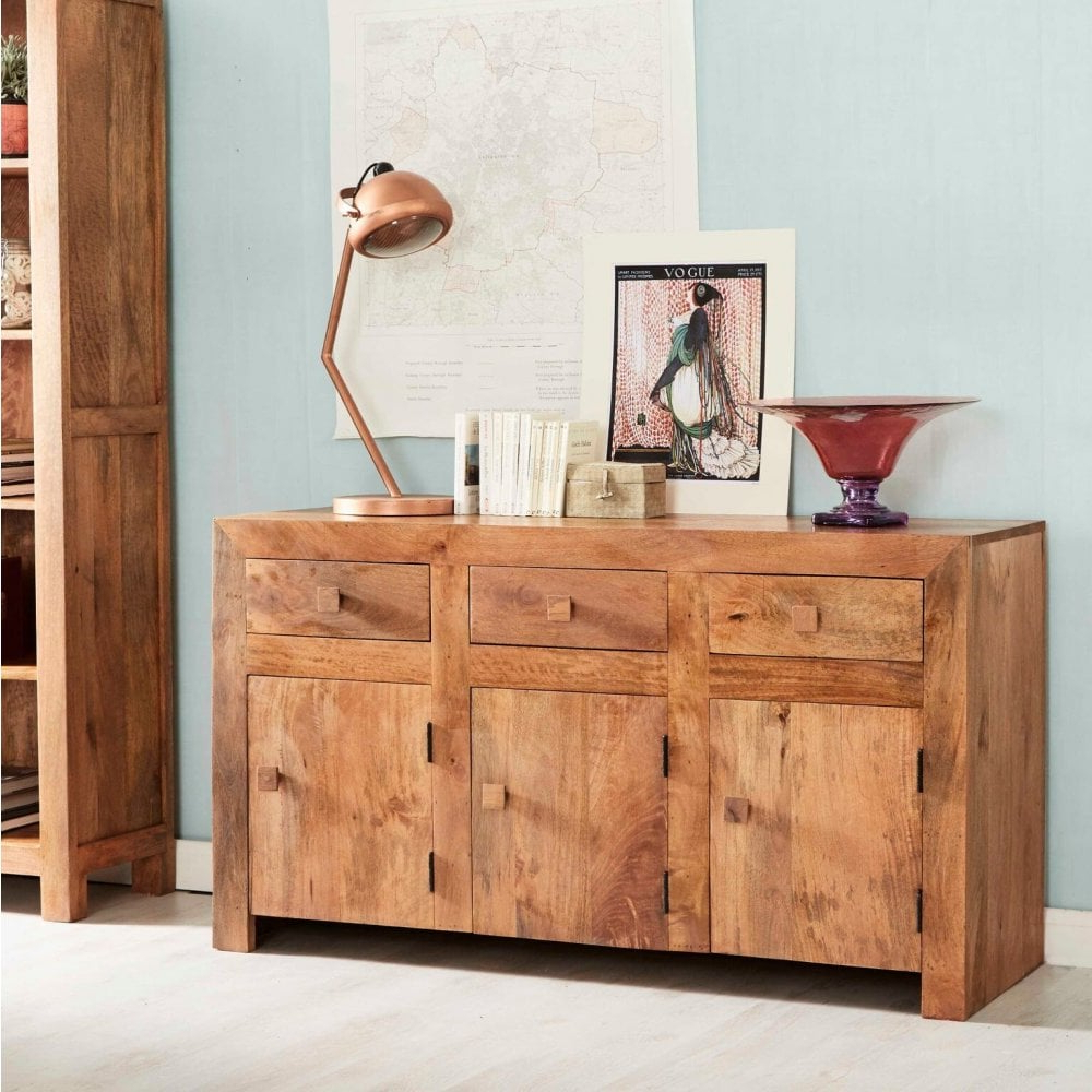Modern Buffet Furniture Inside Most Recently Released Natural Mango Wood Finish Sideboards (View 9 of 20)