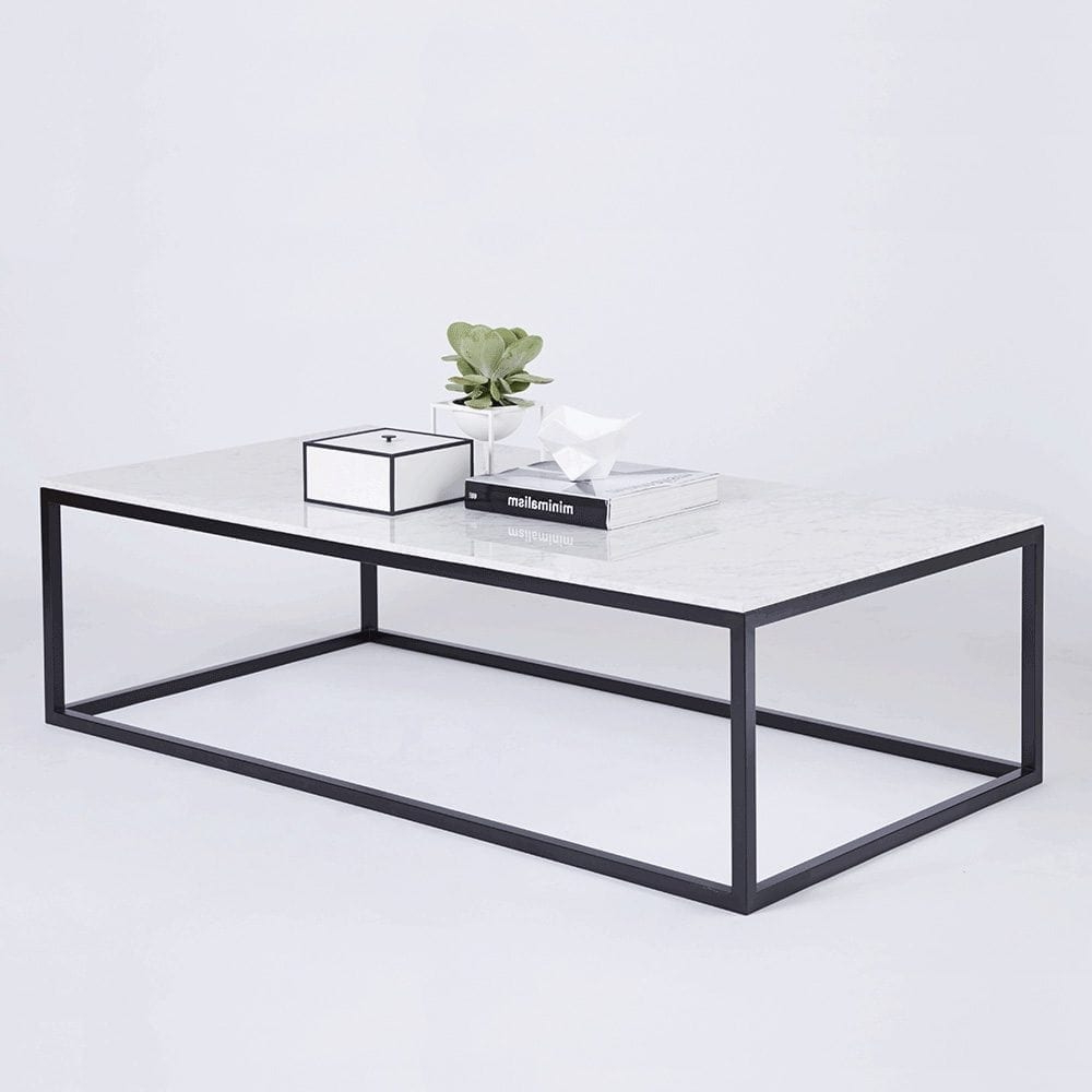 Modern Designer Marble Coffee Table – Black Steel Metal Base In Widely Used Modern Marble Iron Coffee Tables (View 10 of 20)