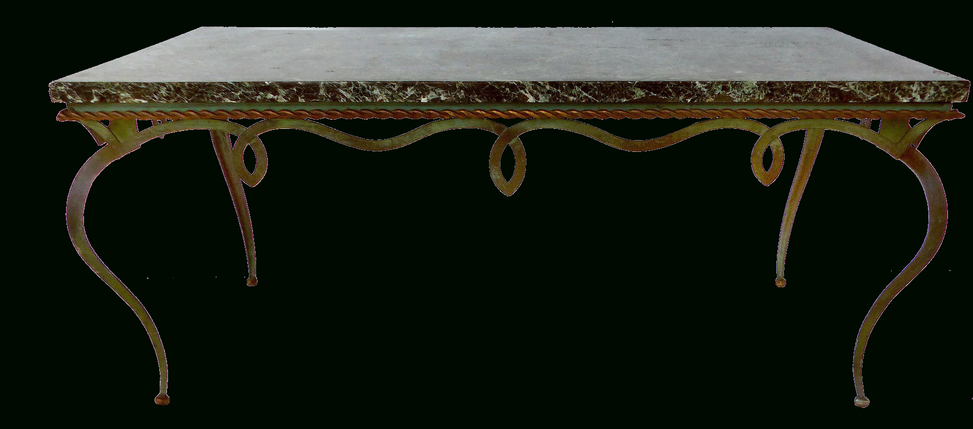 Modern Marble Iron Coffee Tables Throughout 2019 Gilbert Poillerat Style Marble Top Forged Iron Coffee Table (View 4 of 20)