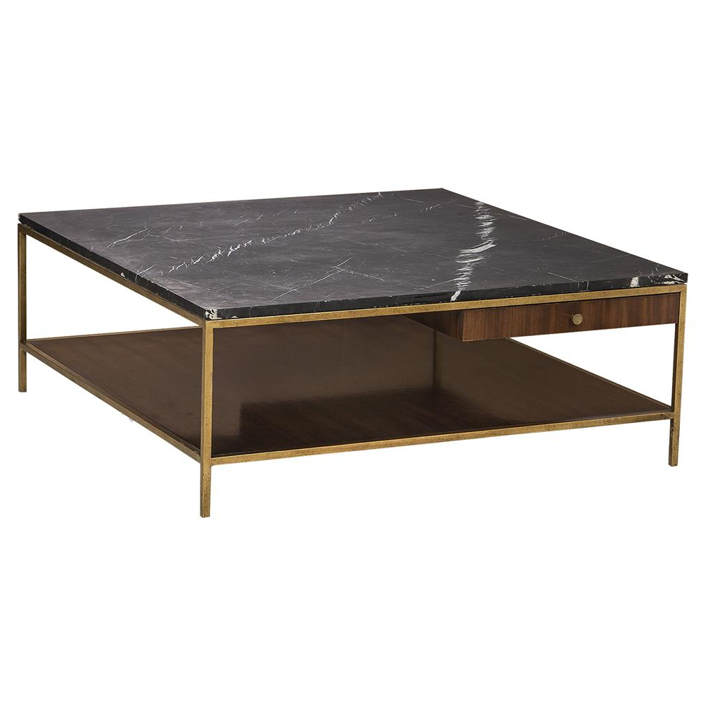 Modern Marble Iron Coffee Tables With Fashionable Maison 55 Copeland Mid Century Walnut Gold Trim Marble Top Coffee Table (View 11 of 20)