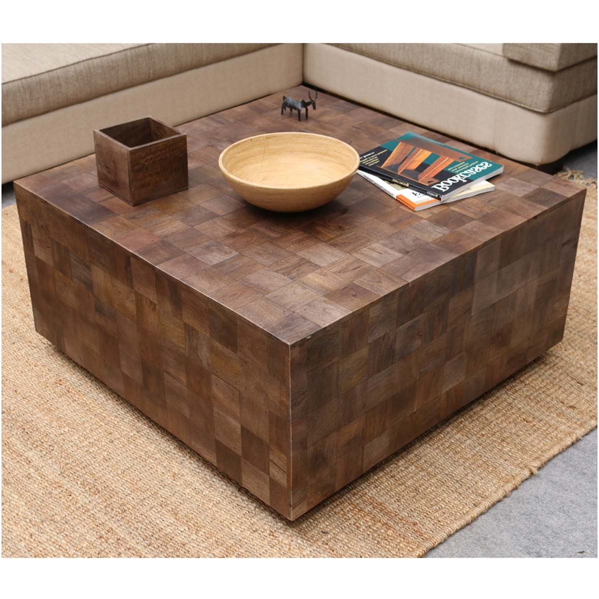 "Modern Rustic Furniture Solid Wood 36"" Square Coffee Table In Newest Modern Rustic Coffee Tables (View 3 of 20)"