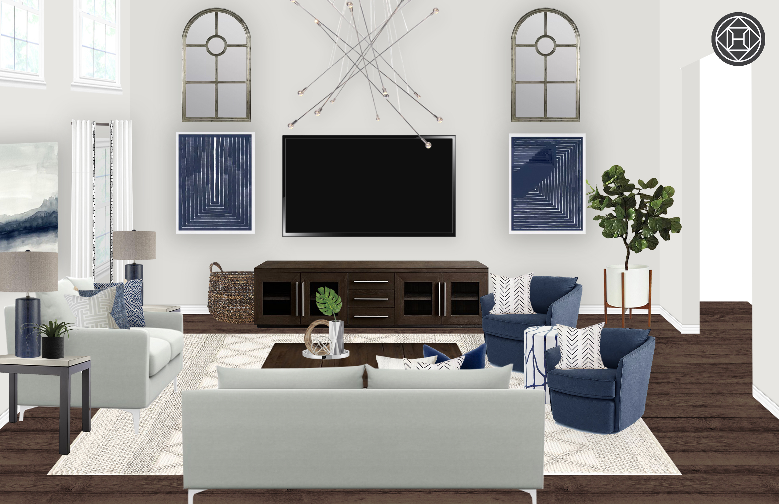 Modern, Scandinavian Living Room Designhavenly Interior Designer Within Fashionable Burton Leather 3 Piece Sectionals With Ottoman (View 14 of 20)