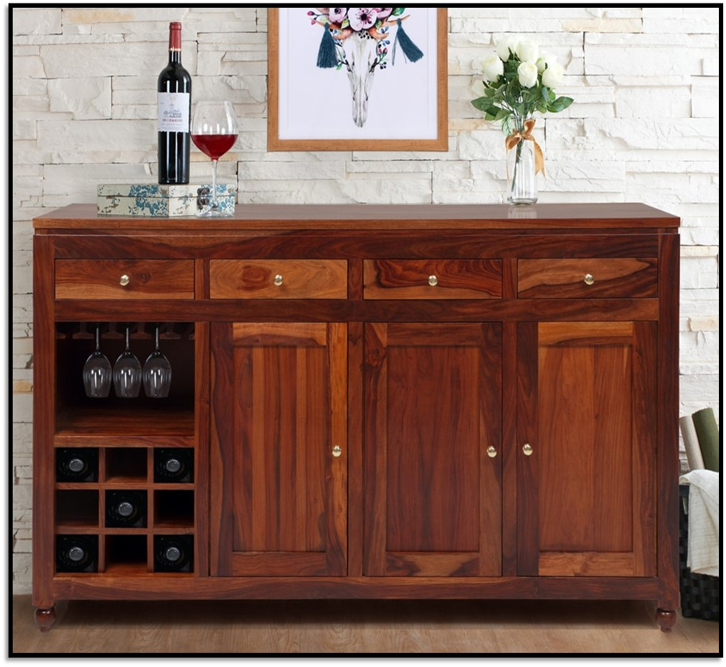 Modus Meadow 3 Door 3 Drawer Solid Wood Sideboard – Brick Brown With Most Up To Date Norwood Sideboards (View 5 of 20)