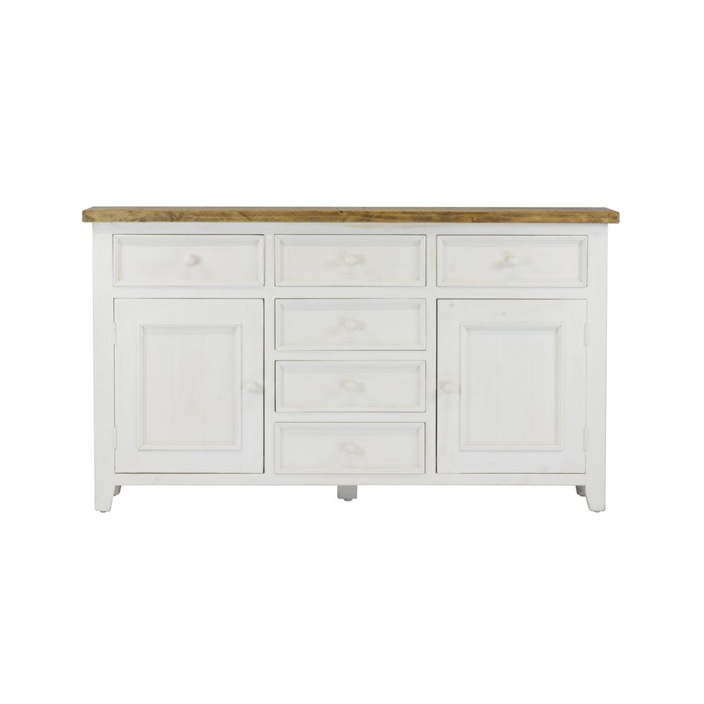Most Current Antique White Distressed 3 Drawer/2 Door Sideboards Pertaining To Lux Home Byron Distressed White Solid Reclaimed Wood Sideboard With (View 12 of 20)