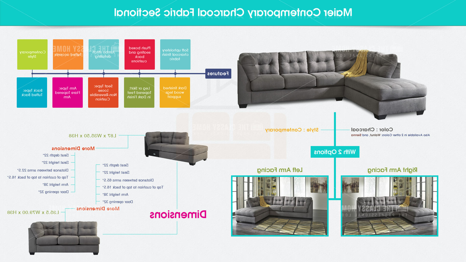 Most Current Ashley Furniture Maier Charcoal Raf Chaise Sectional (View 12 of 20)