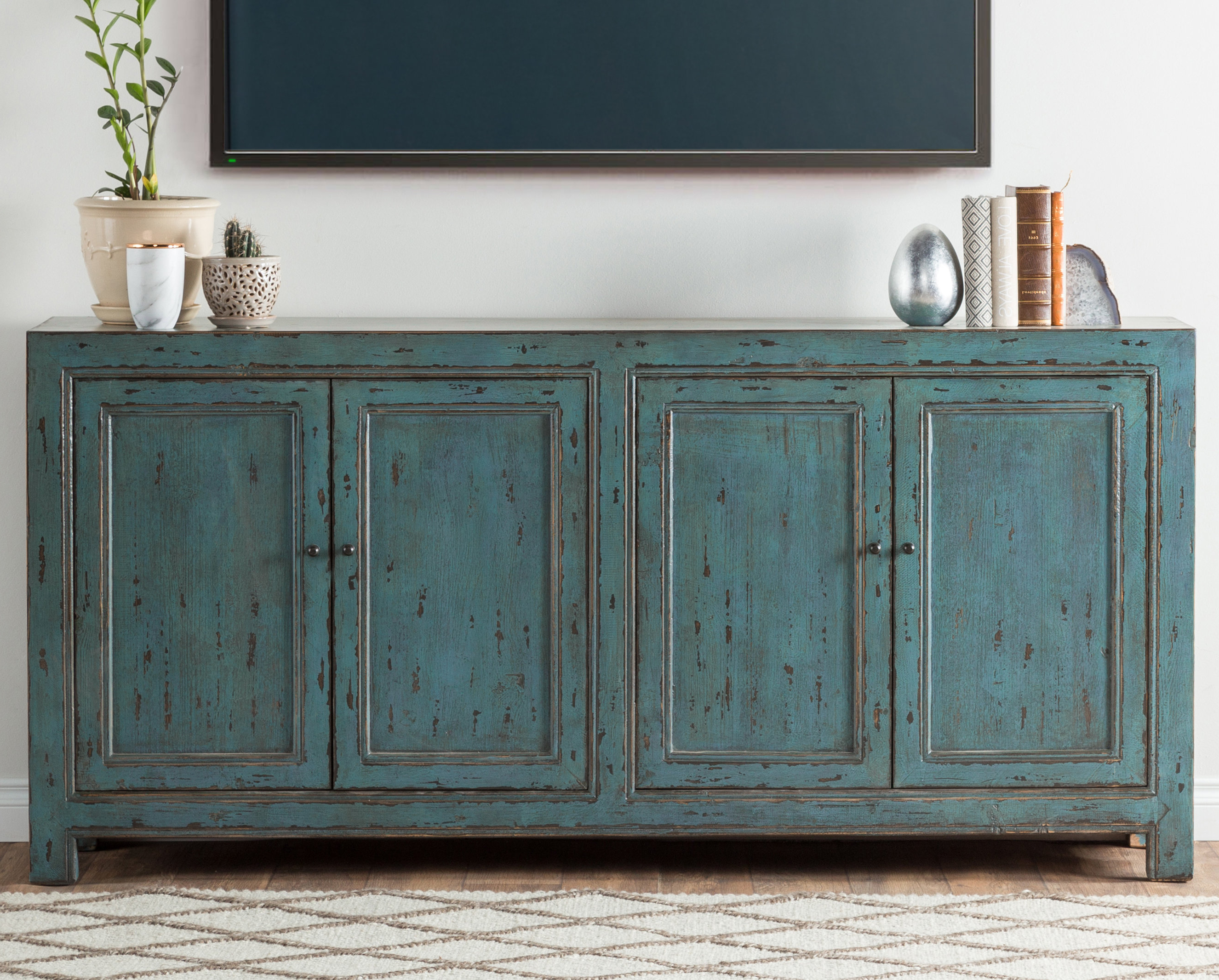 Most Current August Grove Tapscott Reclaimed Pine 4 Door Sideboard & Reviews Pertaining To Reclaimed Pine Turquoise 4 Door Sideboards (Gallery 3 of 20)