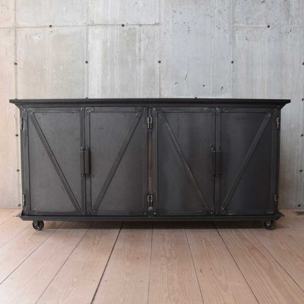 Most Current Blackened Steel Sideboard With Ebonized Wood Top – Rt Facts With Black Oak Wood And Wrought Iron Sideboards (View 6 of 20)