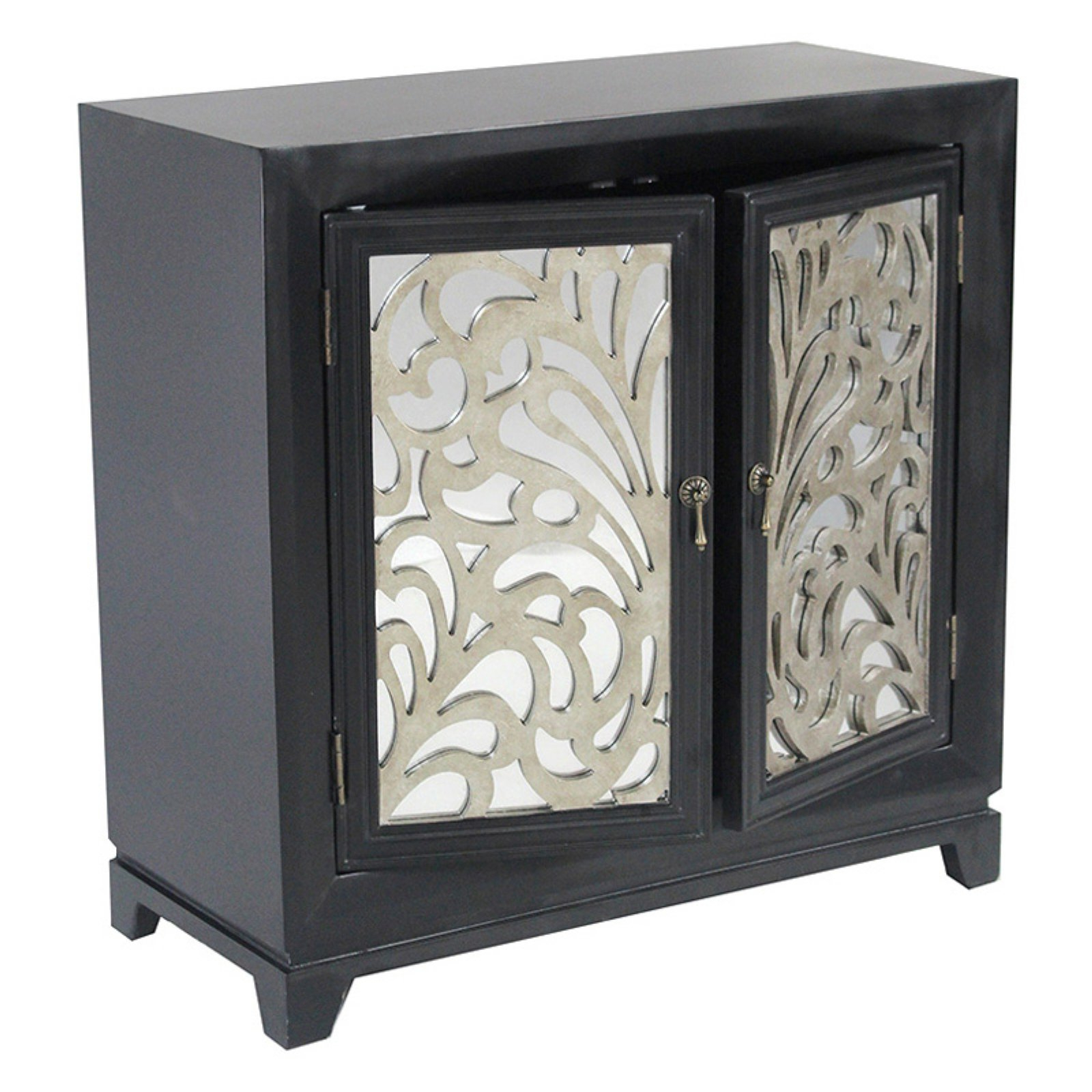 Most Current Burn Tan Finish 2 Door Sideboards For Heather Ann Creations Marrakesh Floral Sideboard With Mirror Inserts (View 13 of 20)