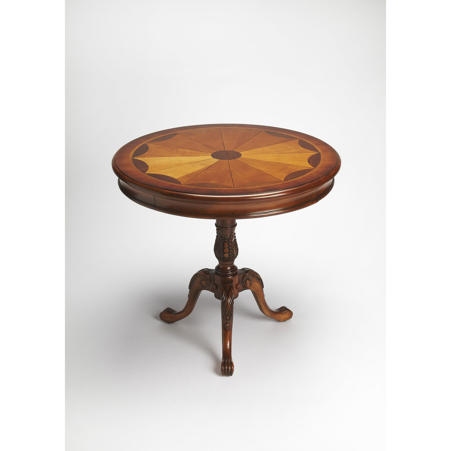 Most Current Butler Specialty Company Carissa Olive Ash Burl Round Pedestal Table Within Carissa Cocktail Tables (View 8 of 20)