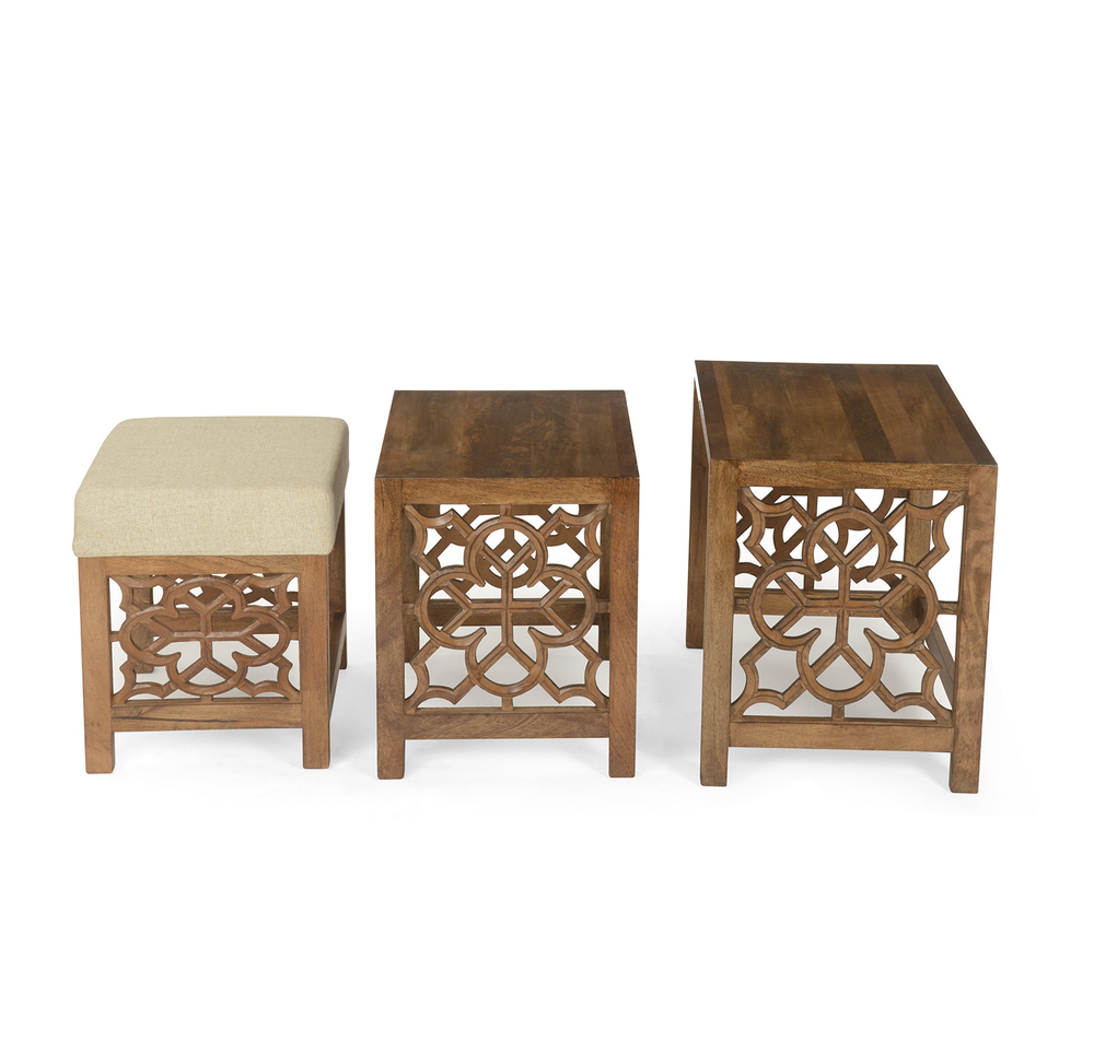 Most Current Buy Batik Nest Table Set Of 3 With Pouffe  @homenilkamal, Cherry Regarding Batik Coffee Tables (Gallery 1 of 20)