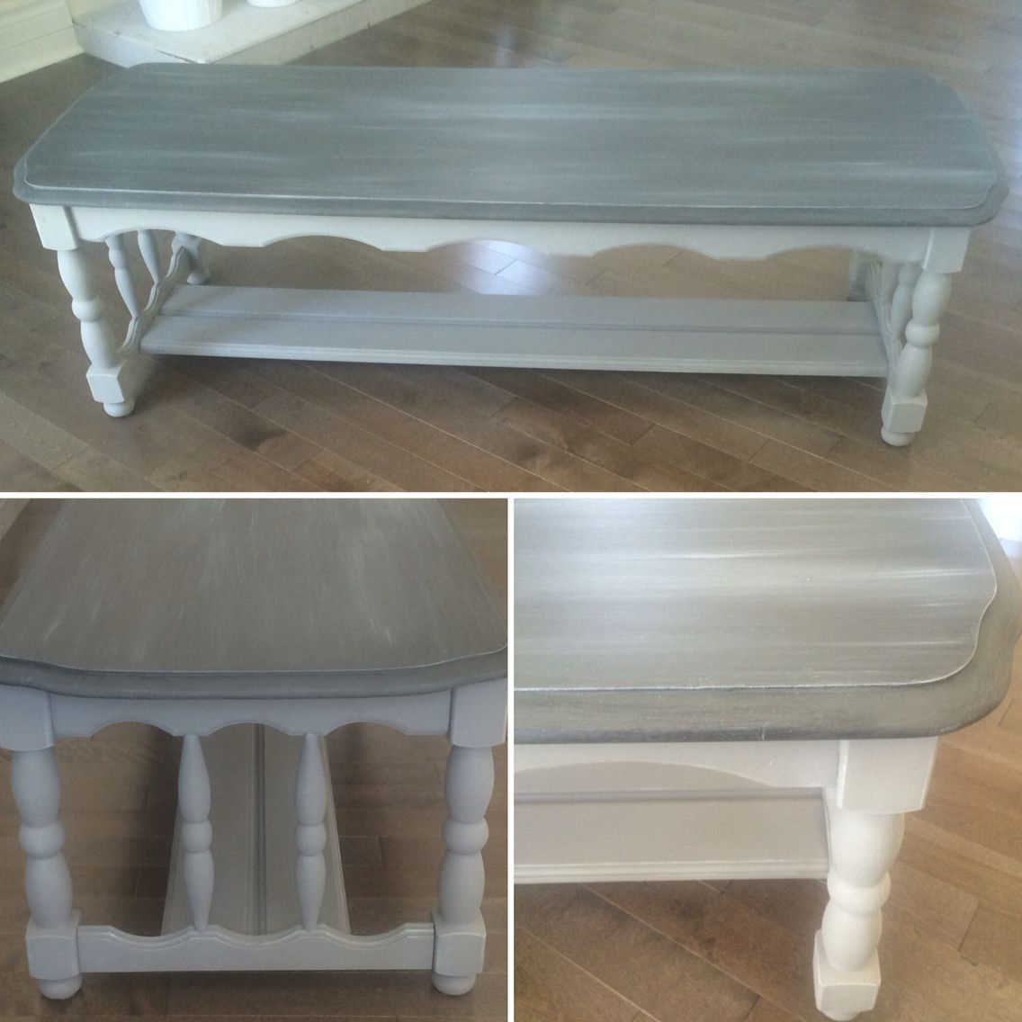 Most Current Chalk Painted Two Tone Gray Solid Wood Coffee Table (View 12 of 20)