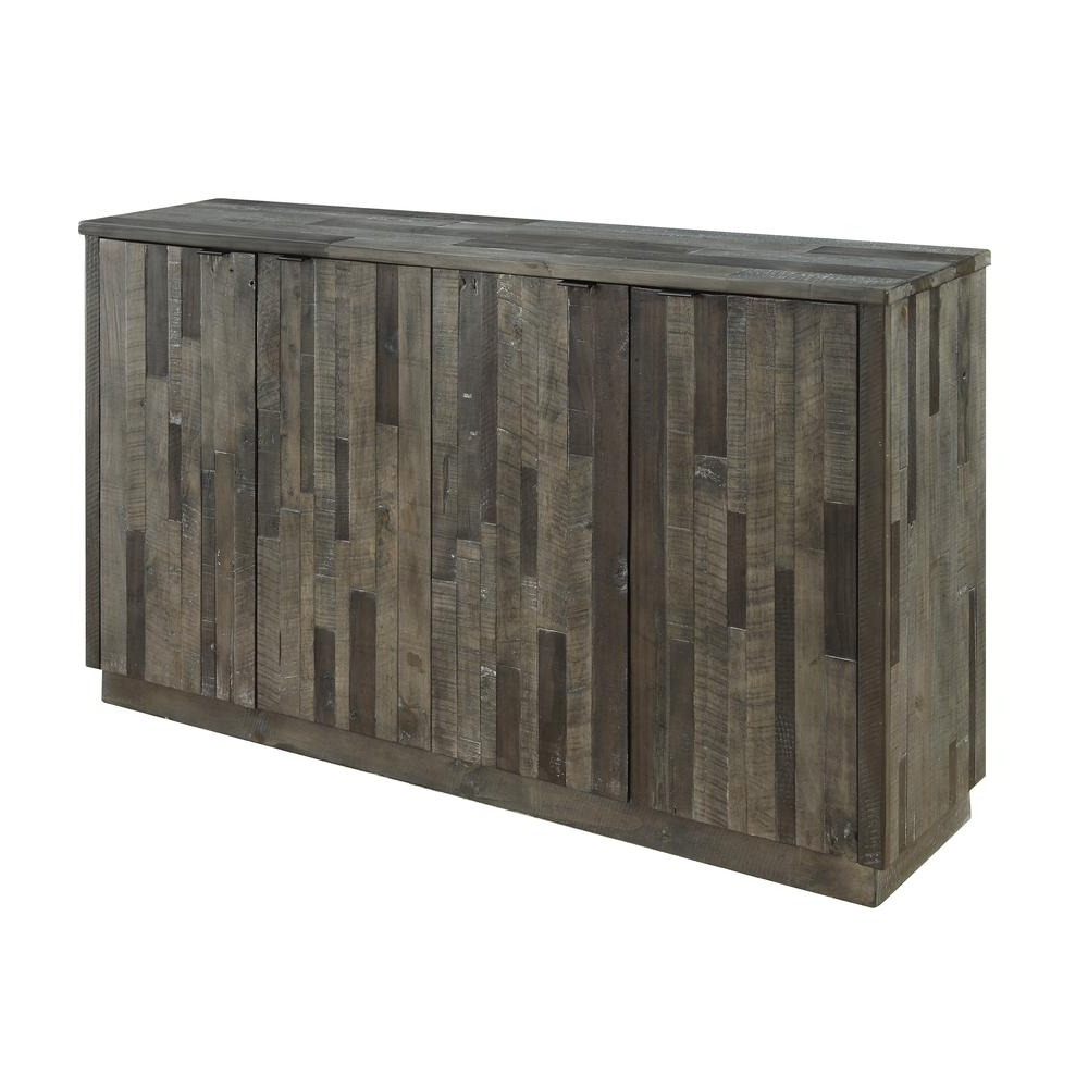 Most Current Charcoal Finish 4 Door Jumbo Sideboards Pertaining To Heartland Four Door Media Credenza, Grey (View 11 of 20)