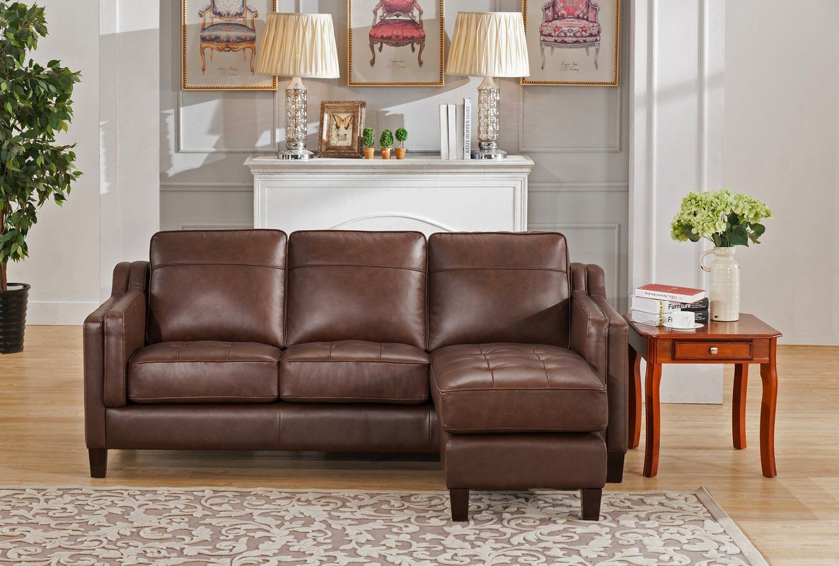 Most Current Collins Sofa Sectionals With Reversible Chaise Throughout Katherine Leather Reversible Sectional (View 7 of 20)