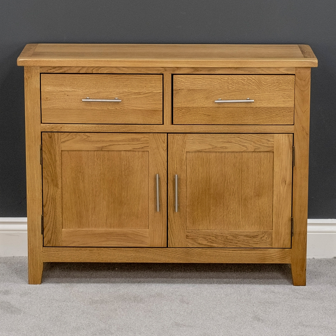 Most Current Details About Nebraska Oak Sideboard / Small Solid Wood 2 Door Storage  Cabinet & Cupboard With Natural Oak Wood 2 Door Sideboards (Gallery 4 of 20)
