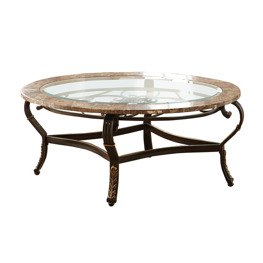 Most Current Gallinari Spanish Brown Marble Cocktail Table Gn300C – The Home Depot With Spanish Coffee Tables (View 8 of 20)