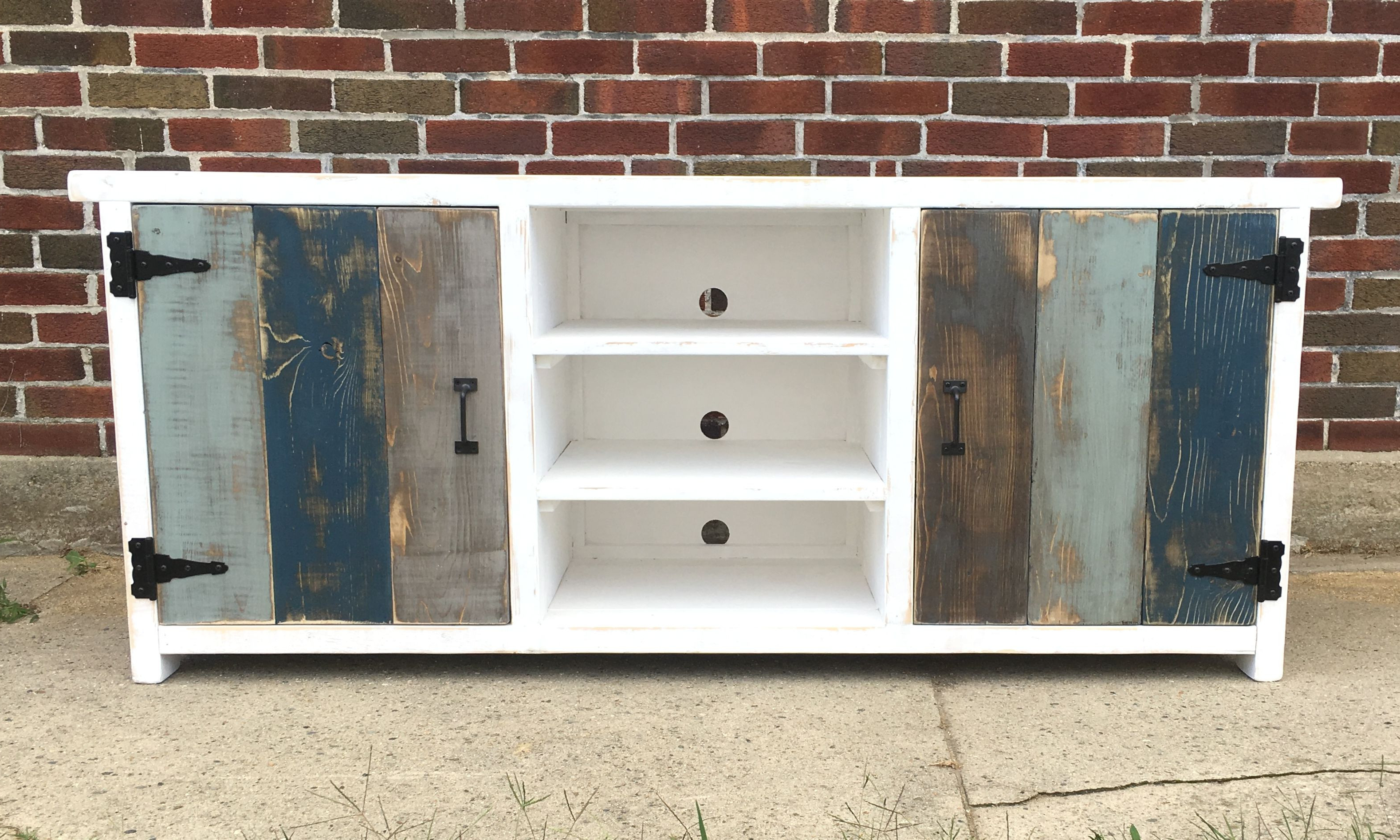 Most Current Handmade Industrial Media Console Buffet Or Credenza Wood Iron Pertaining To Neeja 3 Door Sideboards (View 6 of 20)