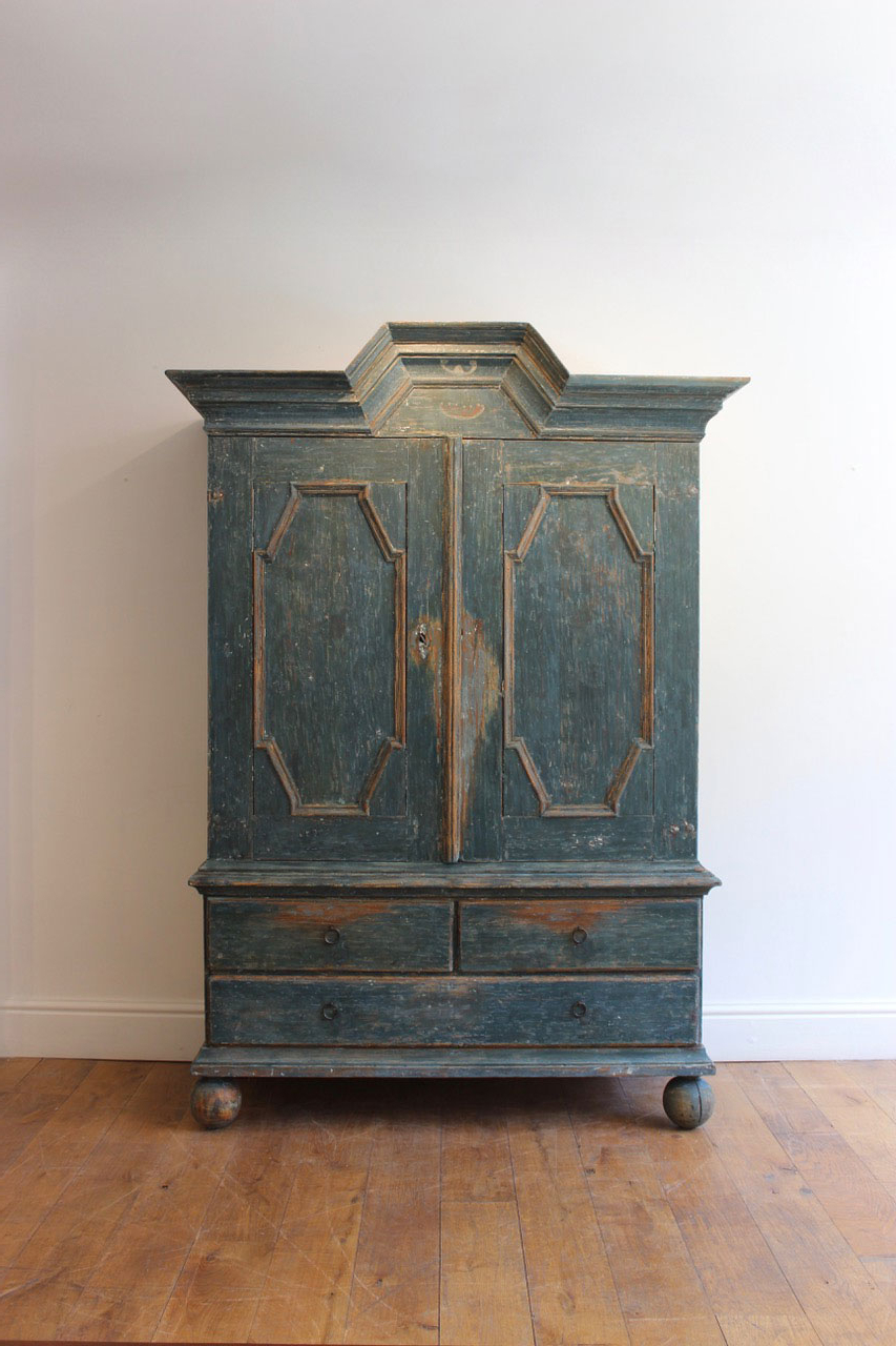 Most Current Iron Pine Sideboards Pertaining To A Swedish Blue Painted Pine Cupboard, 18Th Century – Furniture (Gallery 20 of 20)
