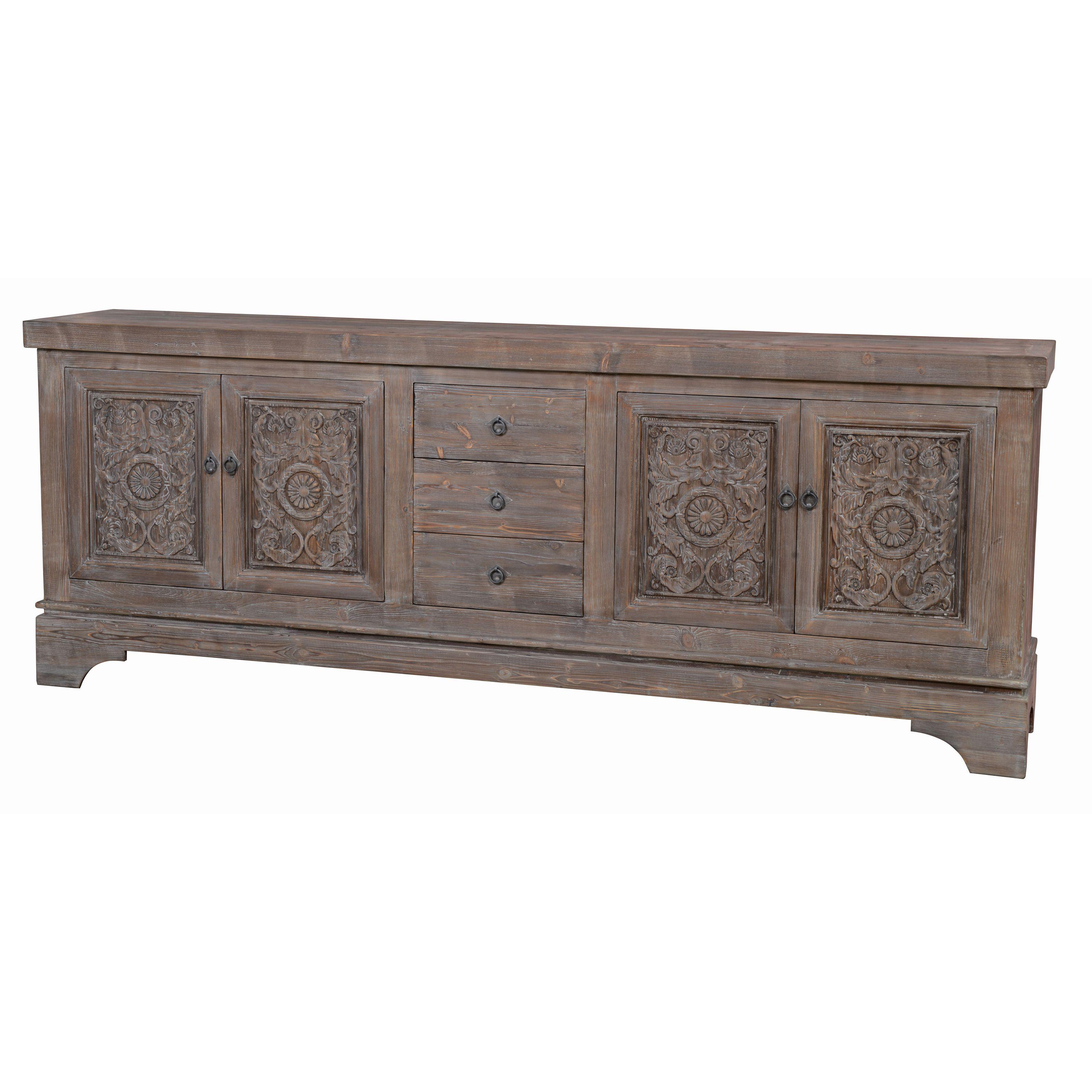 Most Current Kosas Home Allen 3 Drawer 4 Door Mocha Wood Finish Sideboard (kosas Within Reclaimed Pine 4 Door Sideboards (View 12 of 20)
