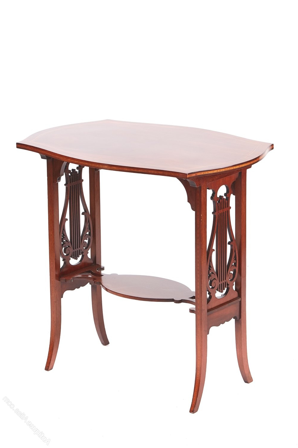 Most Current Lyre Coffee Tables Intended For Edwardian Inlaid Mahogany Lyre End Support Table – Antiques Atlas (View 13 of 20)