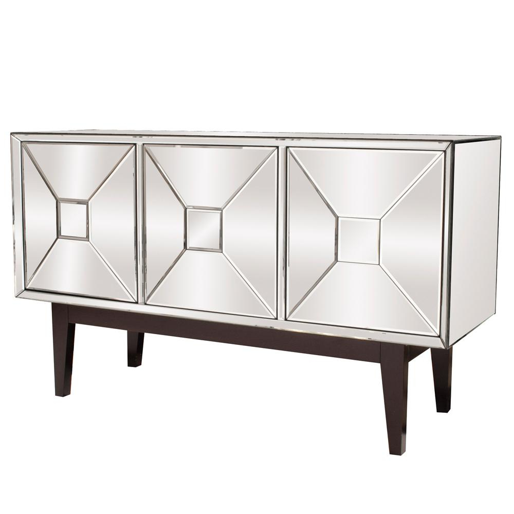 Most Current Mirrored Buffet Cabinet With Three Doors 68086 – The Home Depot In 2 Door Mirror Front Sideboards (View 10 of 20)