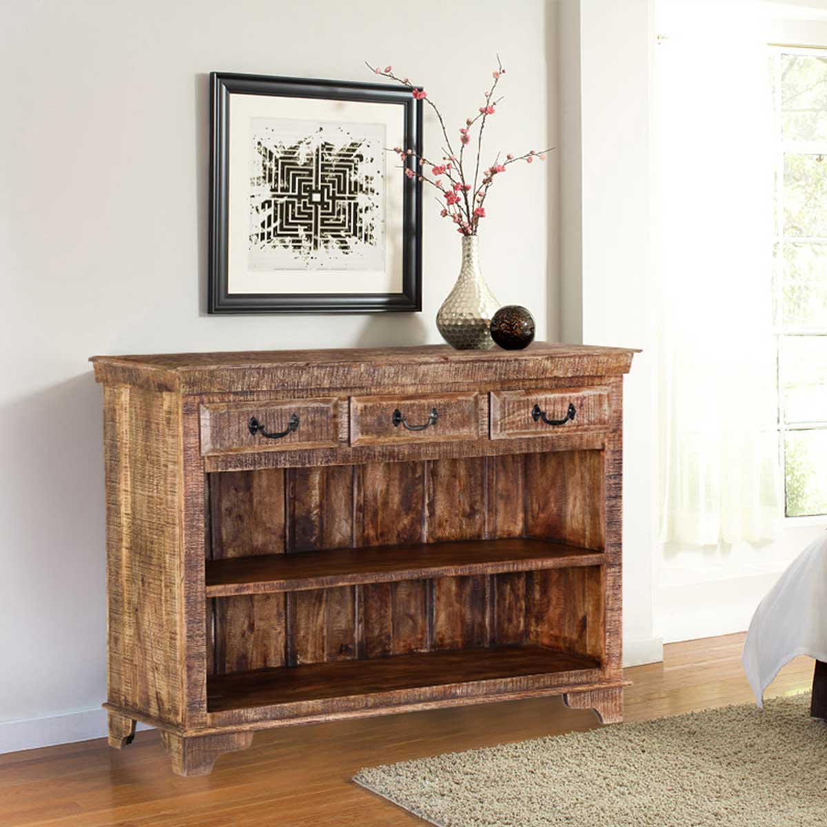 Most Current Natural Mango Wood Finish Sideboards Intended For Phoenix Natural Finish Rustic Mango Wood Display Sideboard W 3 Drawers (Gallery 11 of 20)