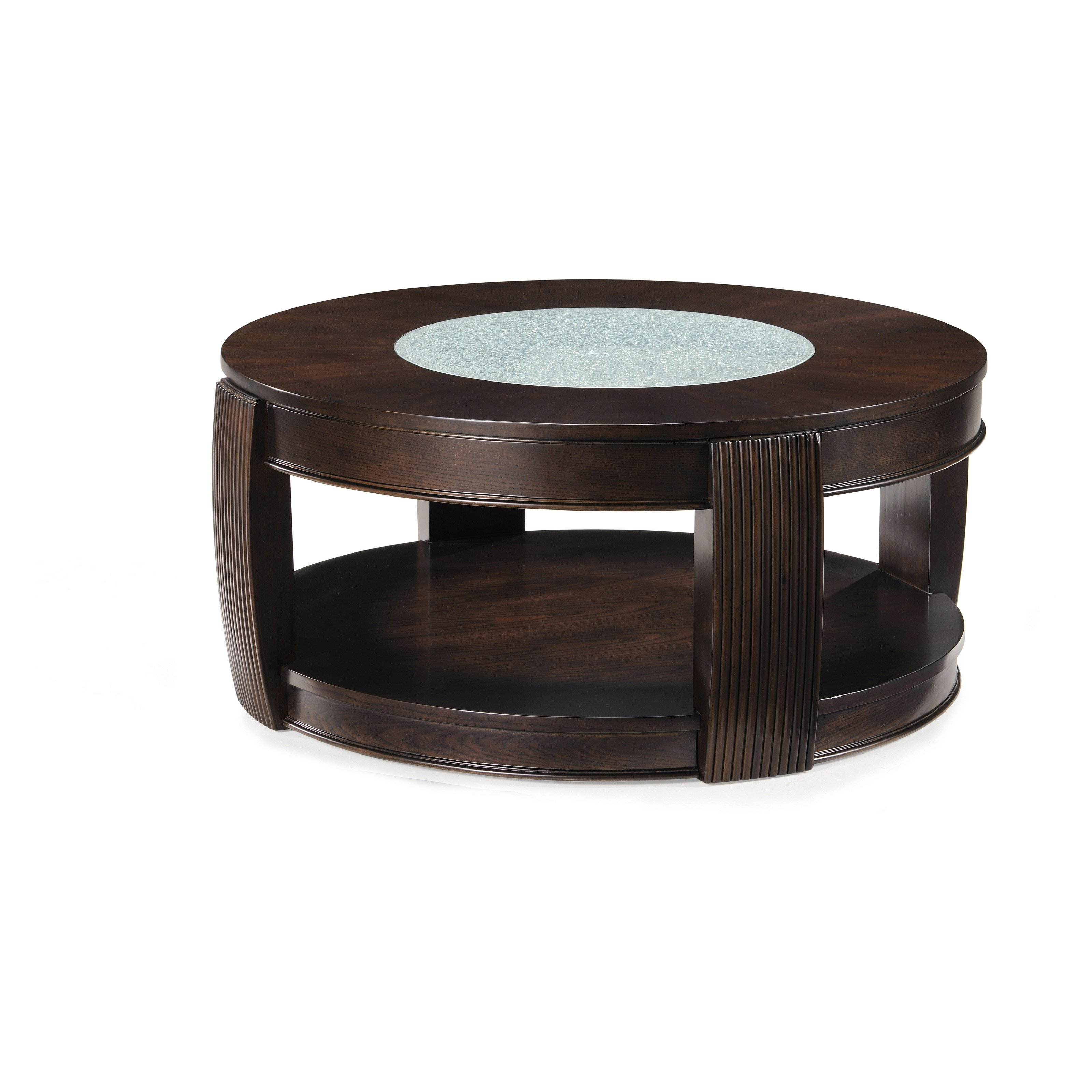 Most Current Ontario Cocktail Tables With Casters For Magnussen T1738 Ino Wood And Glass Round Coffee Table With Casters (View 13 of 20)