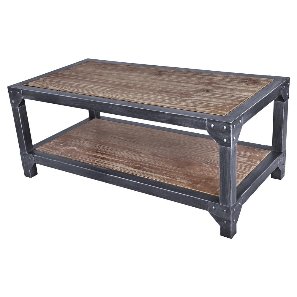 Most Current Pine Metal Tube Coffee Tables For Armen Living Astrid Industrial Grey Coffee Table Lcascosbpi – The (View 11 of 20)