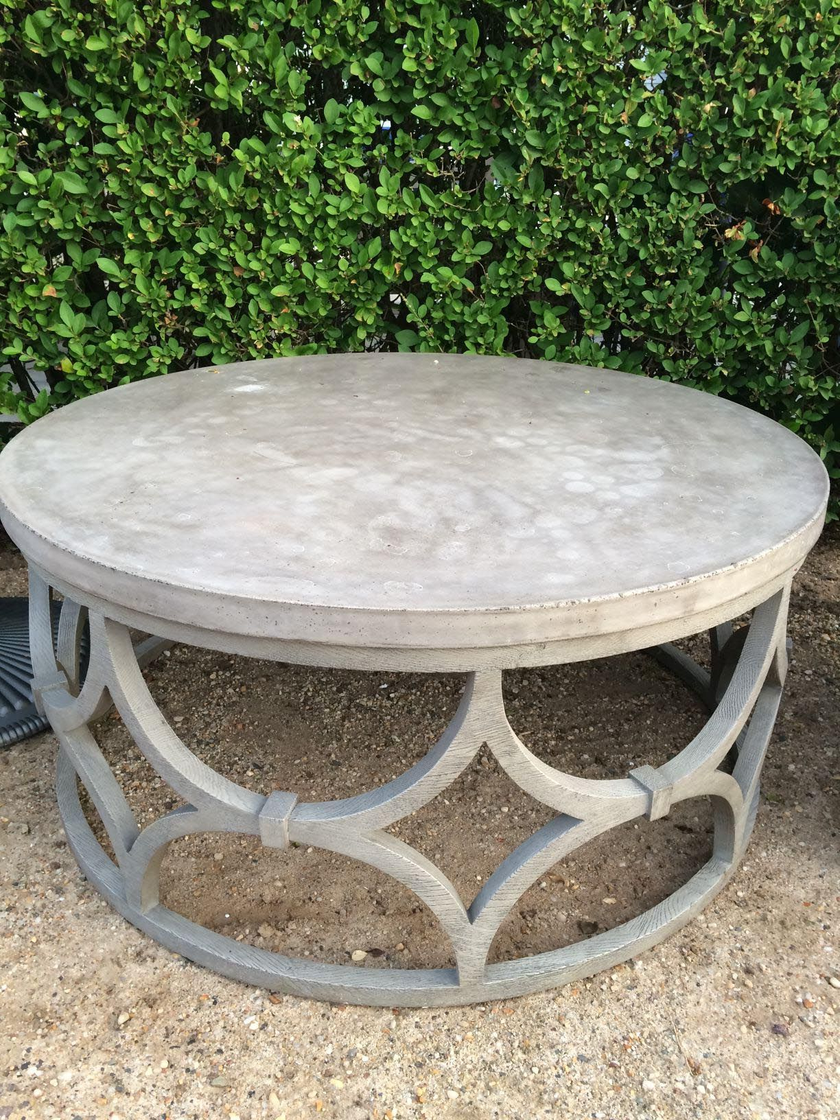 Most Current Round White Wash Brass Painted Coffee Tables Within Round Outdoor Coffee Table (View 2 of 20)