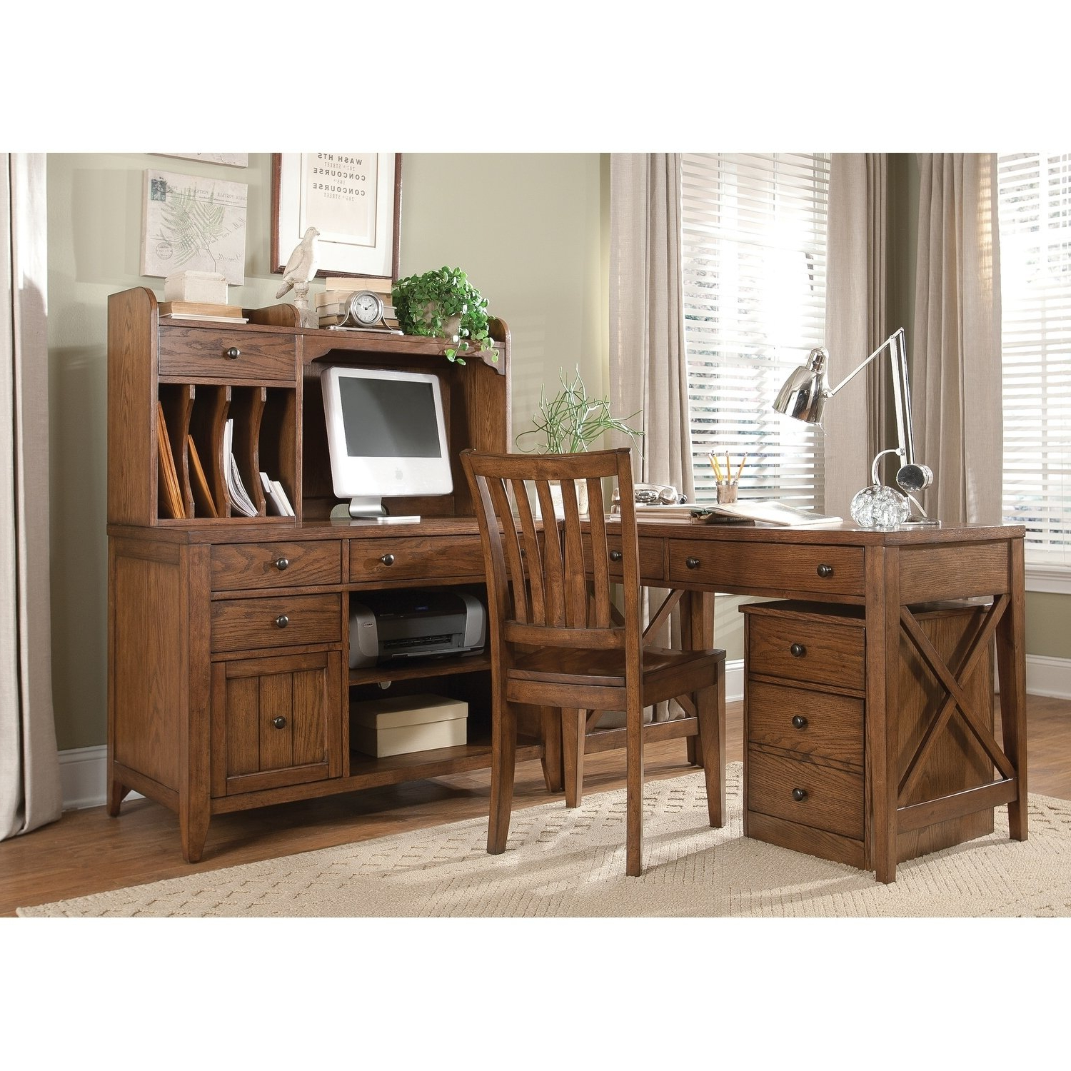 Most Current Shop Hearthstone Rustic Oak Computer Credenza – Free Shipping Today Inside Rustic Black & Zebra Pine Sideboards (View 20 of 20)