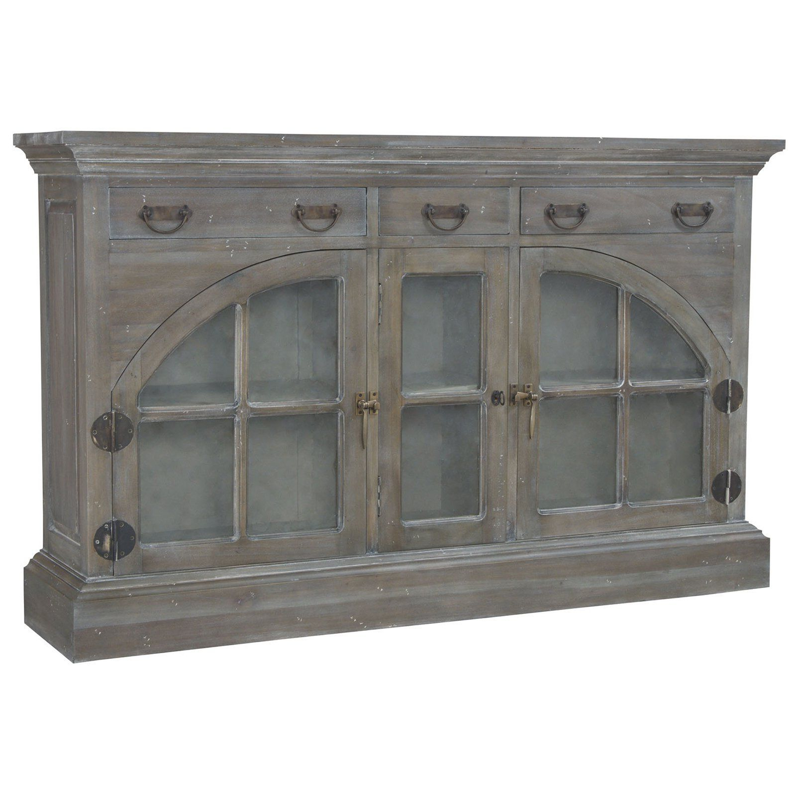 Most Current White Wash 4 Door Galvanized Sideboards In Farmhouse China Credenza In Waterfront Grey Stain And White Wash (View 10 of 20)
