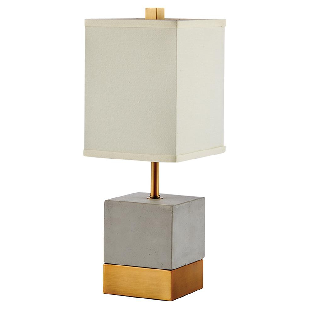 Most Popular Brass Iron Cube Tables Pertaining To Elsa French Country Grey Cement & Brass Cube Table Lamp With White (View 7 of 20)