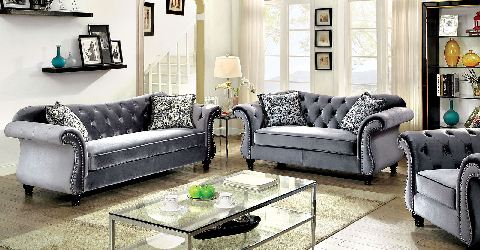 Most Popular Button Tufted Coffee Tables Within Jolanda Traditional Gray Fabric Sofa Set (View 10 of 20)