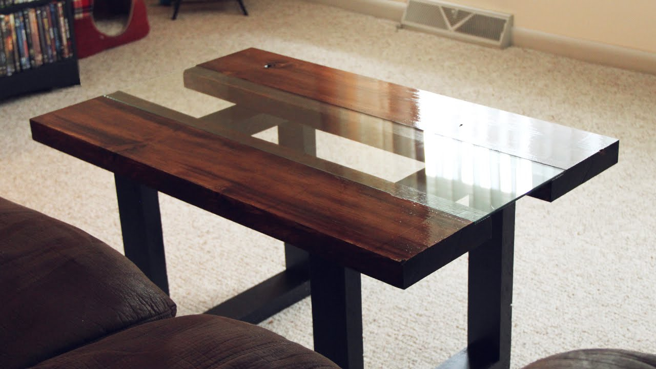 Most Popular Chiseled Edge Coffee Tables With Regard To Glass & Wood Coffee Table With Faux Metal Legs – Youtube (View 7 of 20)