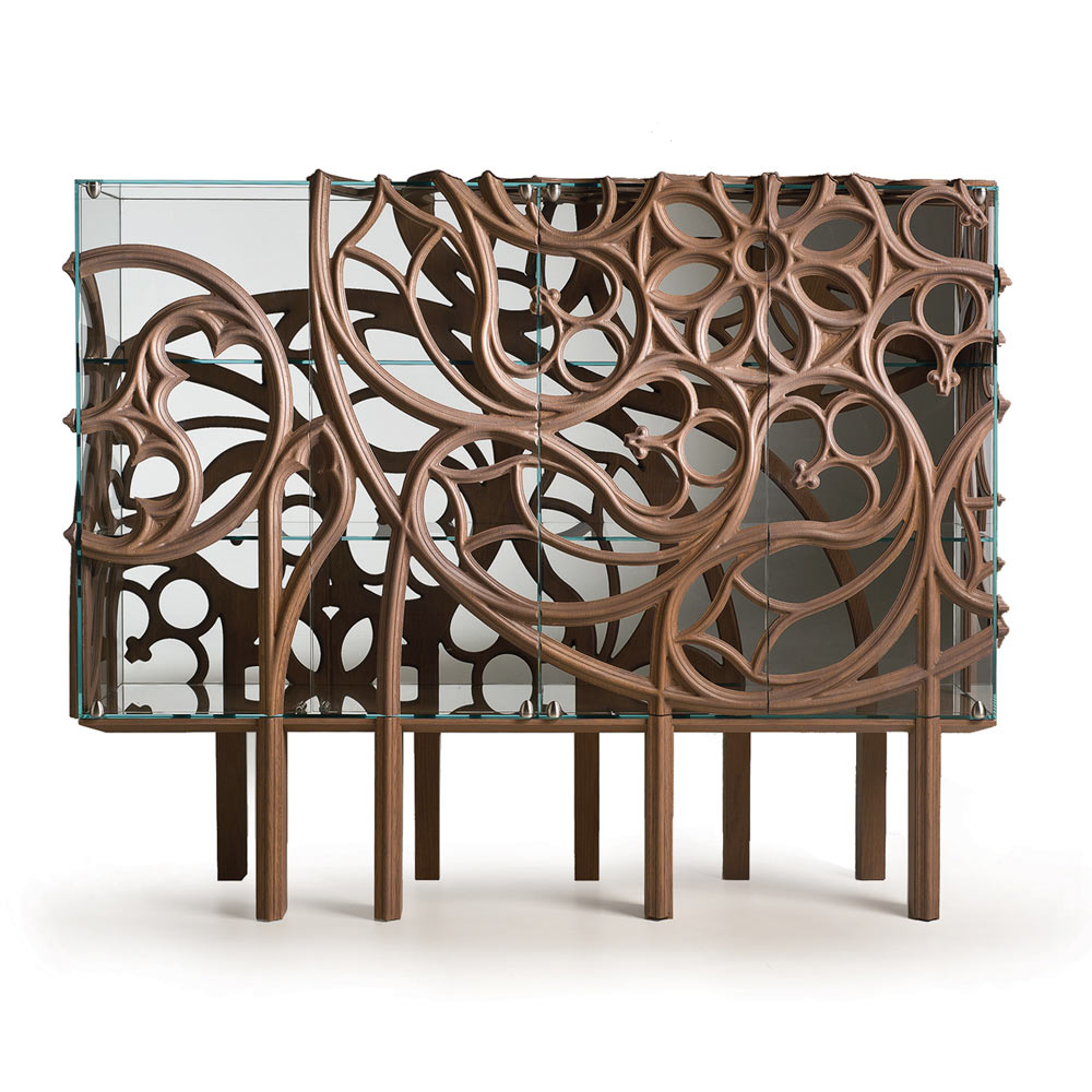 Most Popular Fratelli Boffi Gothika Glass Sideboard With Oak Wood Decorations Throughout Black Oak Wood And Wrought Iron Sideboards (View 18 of 20)