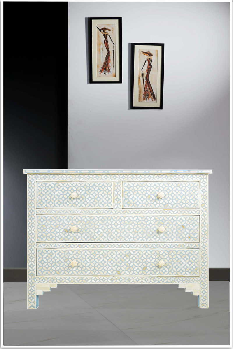 Most Popular Geo Pattern Black And White Bone Inlay Sideboards Within Shop Online – Geometric Pattern Sky Blue Bone Inlay Commode (Gallery 17 of 20)