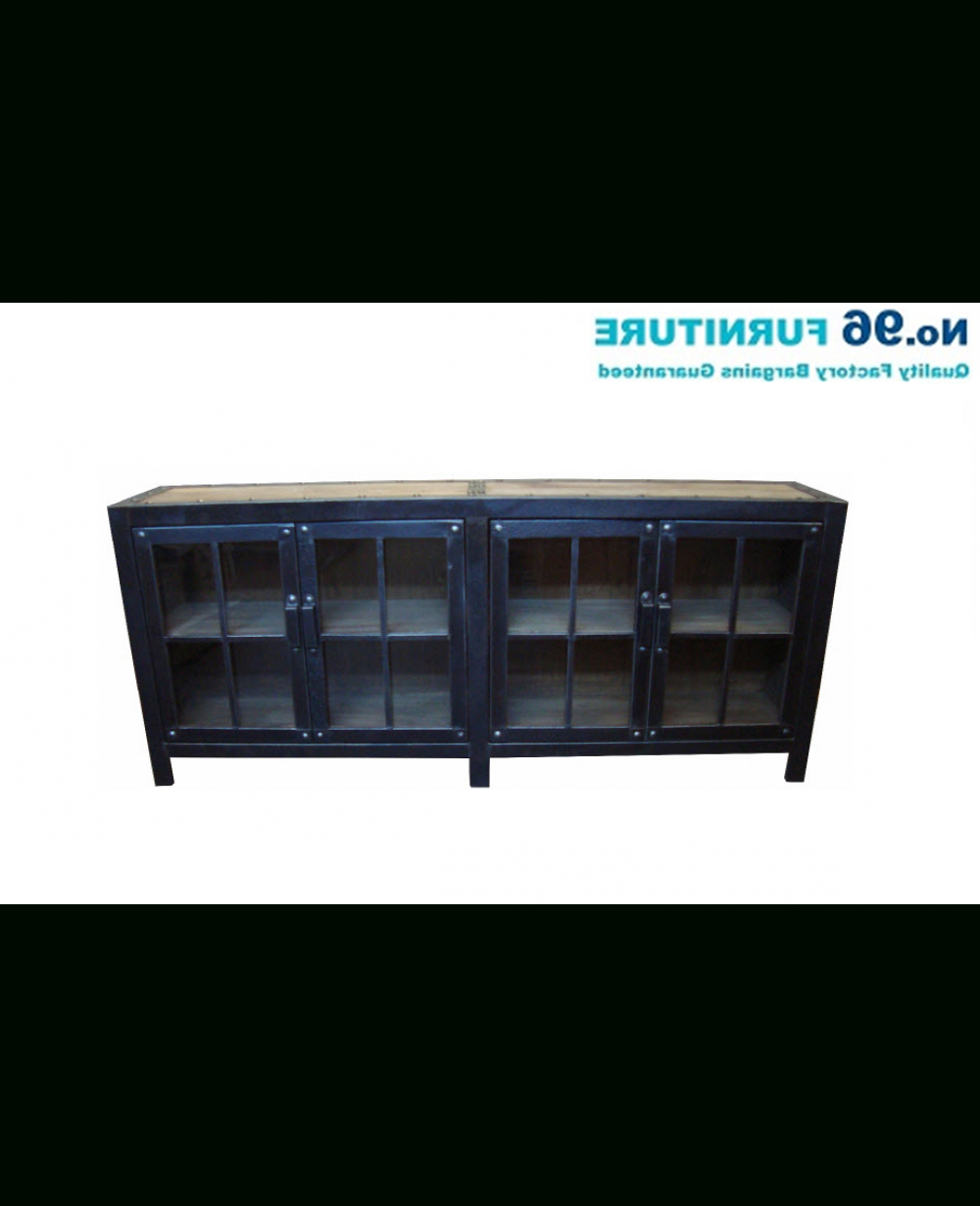 Most Popular Iron Sideboards Throughout Recycled Elm And Iron Glass Sideboard 4 Doors – Buffet & Sideboards (Gallery 5 of 20)