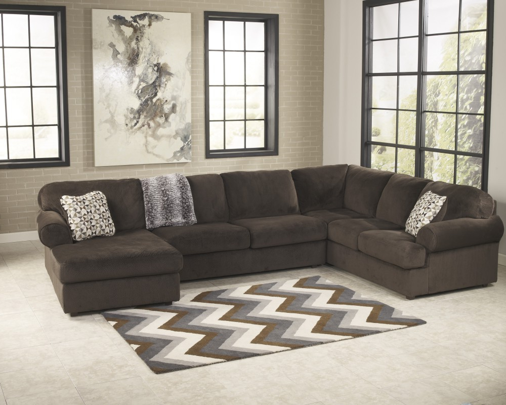 Most Popular Jessa Place – Chocolate 3 Pc. Raf Chaise Sectional (Gallery 16 of 20)