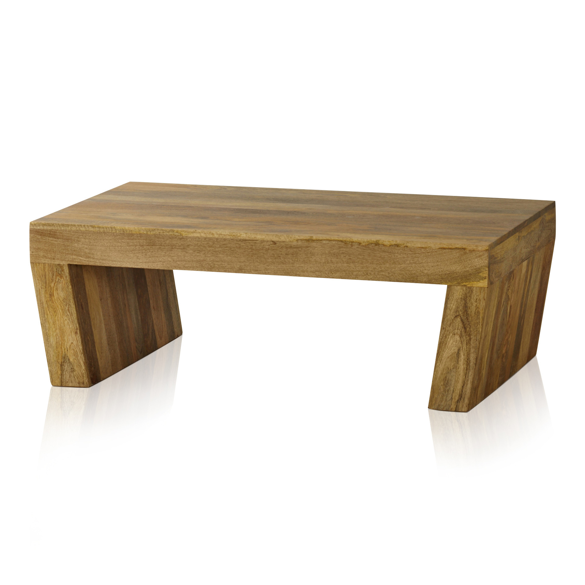 Most Popular Light Natural Coffee Tables Inside Mantis Light Natural Solid Mango Coffee Table With Angled Legs (View 4 of 20)