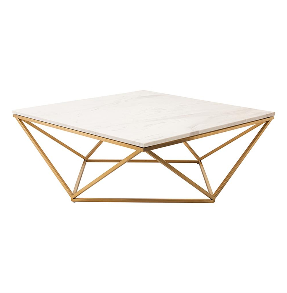 Most Popular Rosalie Hollywood Regency Gold Steel White Marble Coffee Table For Suspend Ii Marble And Wood Coffee Tables (View 6 of 20)