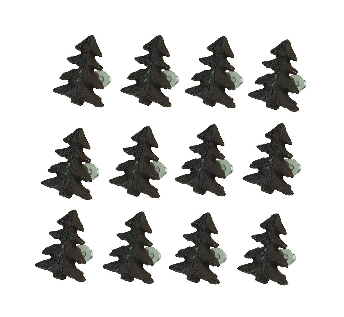 Most Popular Rustic Black & Zebra Pine Sideboards In Zeckos: Rustic Brown Woodland Pine Tree 12 Piece Cast Iron Drawer (View 15 of 20)